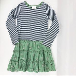 Hanna Andersson Green Floral Skirted Dress Sz 130